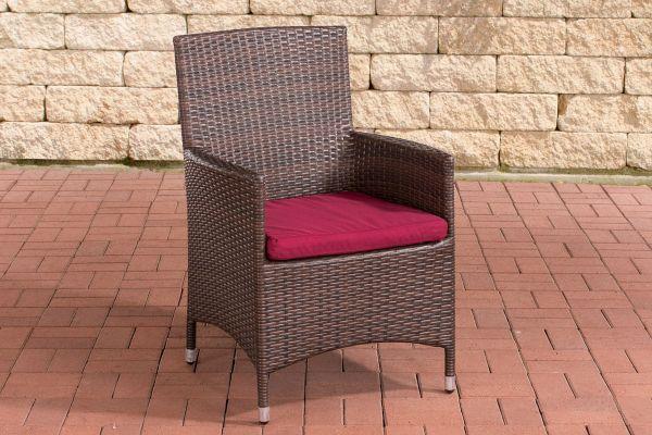 Stuhl Julia/Avignon/Tropea/Florenz Rubinrot braun-meliert
