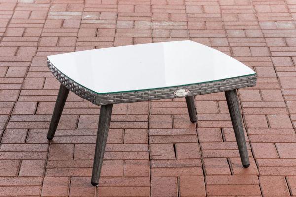 Tisch Ameland Flachrattan 30 cm grau