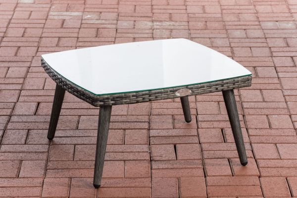 Tisch Ameland Flachrattan 30 cm grau-meliert