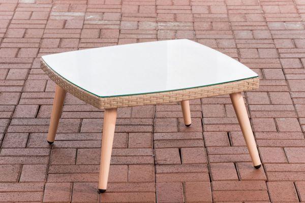 Tisch Ameland Flachrattan 30 cm sand
