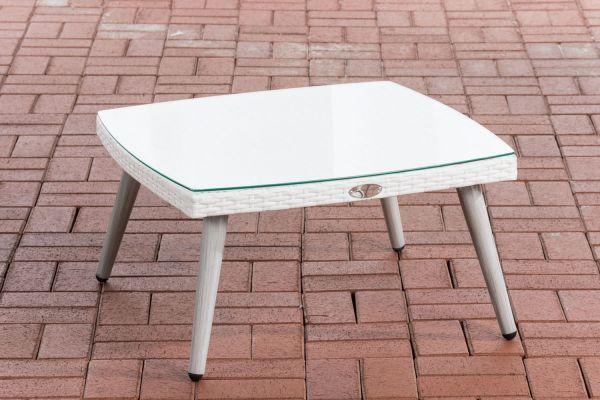 Tisch Ameland Flachrattan 30 cm weiß