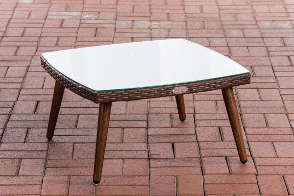 Tisch Ameland Flachrattan 35 cm braun-meliert