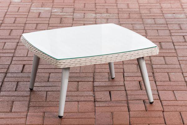 Tisch Ameland Rundrattan 30 cm perlweiß