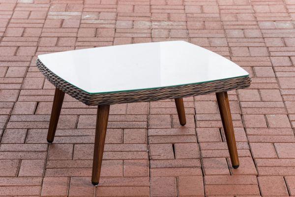 Tisch Ameland Rundrattan 35 cm braun-meliert