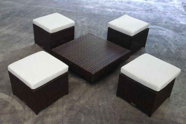 Tisch Tunis + 4x Hocker Tahiti, Braunmeliert/Cremeweiß, B-Ware