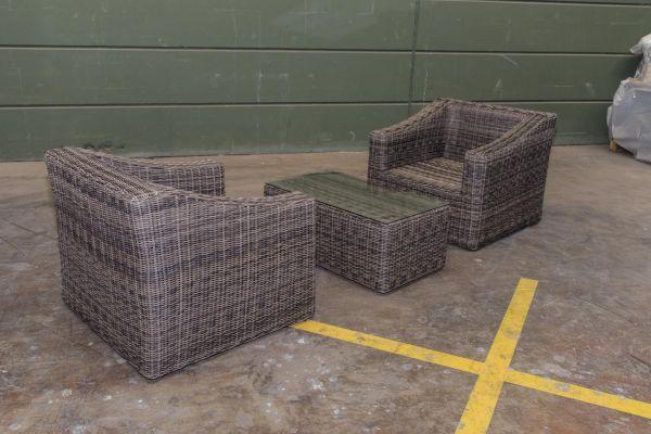#G 2er Set Sessel Bemalda mit Tisch 5mm ohne Polster-grau-meliert