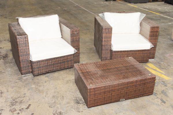 #G 314: 2er Set Sessel Provence mit Tisch 82x55x28 cm
