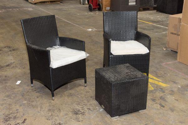 #G 315: 2er Set Stuhl Avignon mit Beistelltisch Barcelona-schwarz