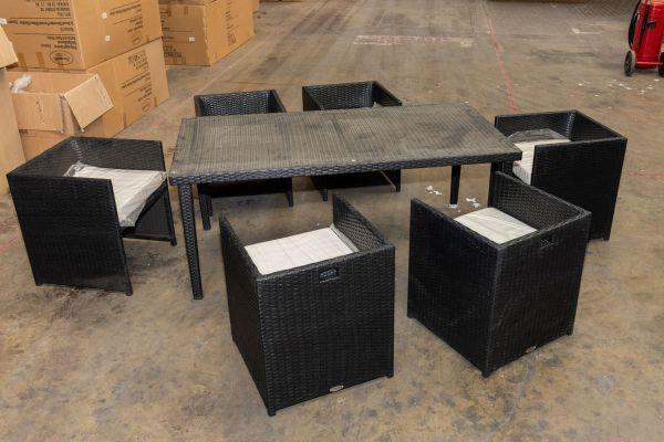 #G 407: 6er Set Stuhl Tahiti mit Tisch Bondy