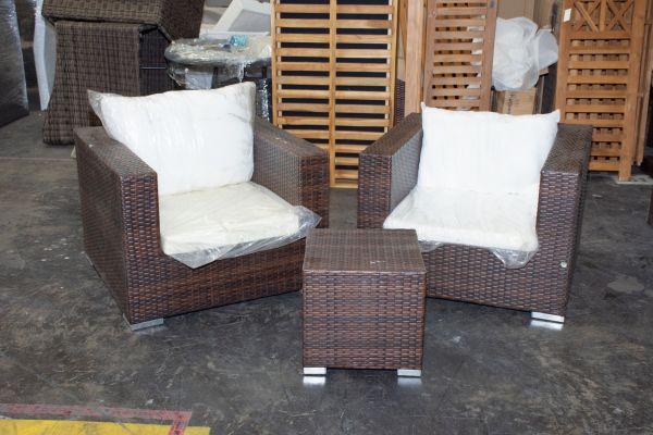 #G 502: 2er Set Sessel Barcelona mit Beistelltisch