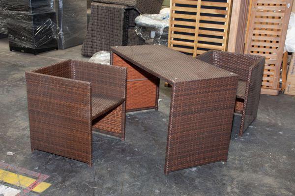 #G 515: 2er Set Stuhl Tahiti mit Tisch-braun-meliert