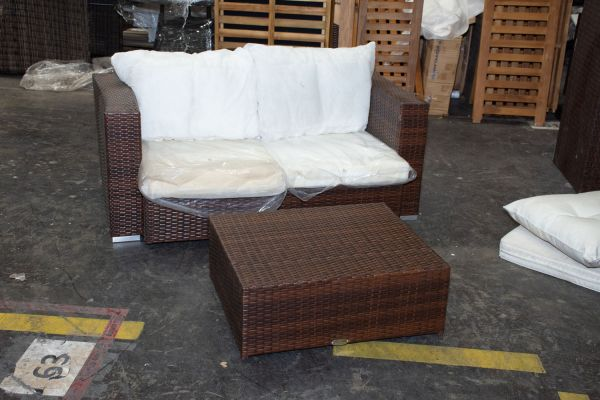 #G 517: 2er Sofa Sunset mit Tisch Marsala