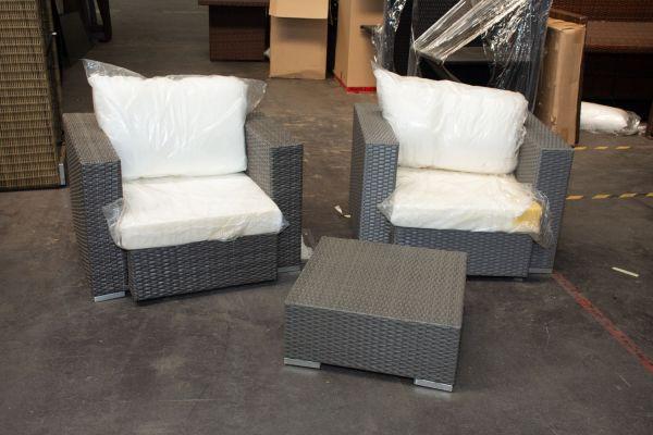 #G 528: 2er Set Sessel Provence mit Tisch-grau