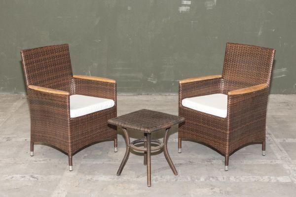 #G Garnitur 02: 2x Stuhl Milton mit kleinem Tisch-braun-meliert-cremeweiß