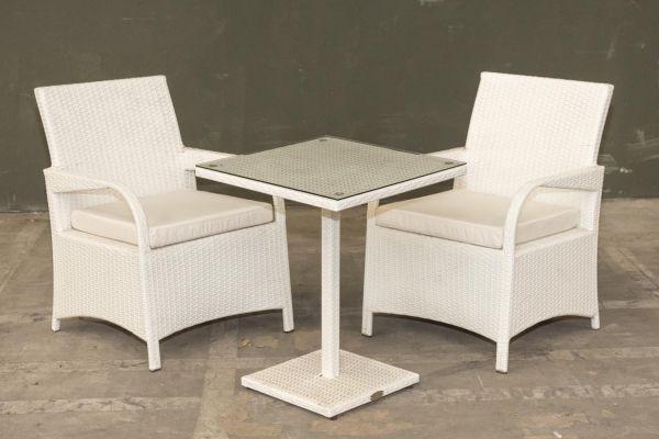 #G Garnitur 03, 2x Stuhl Pizzo + Tisch Palermo-weiß-cremeweiß