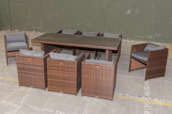 #G Garnitur 04: Tisch Avignon big + 8 Stühle Tahiti