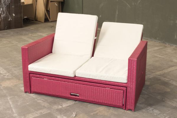 #G Garnitur 05: Sofa Ancona-pink-cremeweiß