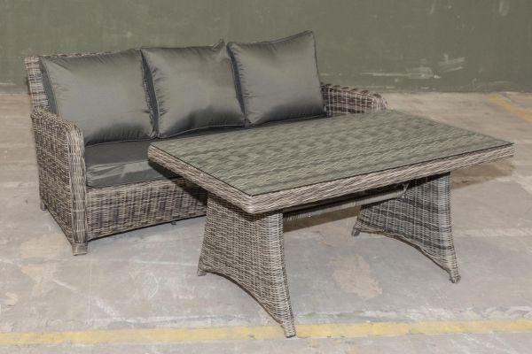 #G Garnitur 06: Sofa San Fernando + Tisch Siena 5mm -grau-meliert-anthrazit