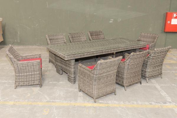 #G Garnitur 11: Sitzgruppe Sandness XL 5mm graumeliert rubinrot