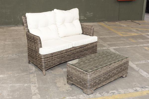 #G Garnitur 21: 2er Sofa Merida und Tisch Maria 5mm-grau-meliert-cremeweiß