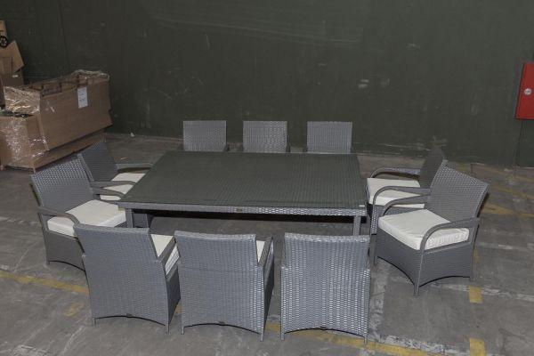 #G Garnitur 27: Sitzgruppe Pizzo mit 10 Stühlen-grau-cremeweiß