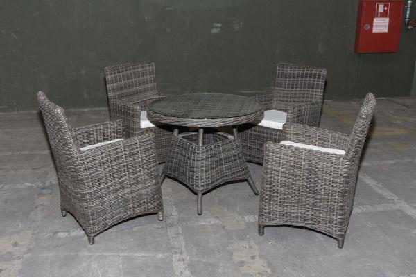 #G Garnitur 29: 4er Set Stuhl Fontana mit 1x Tisch Farsund-grau-meliert-cremeweiß