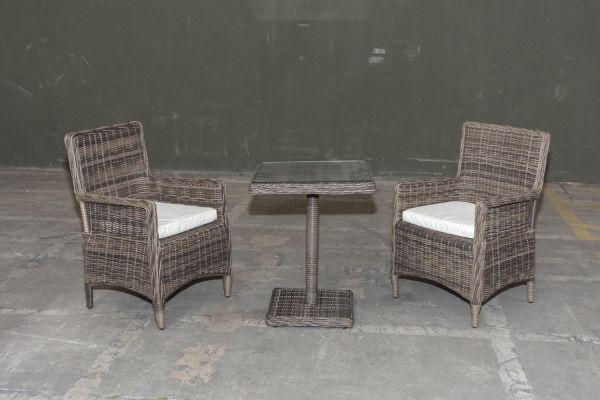 #G Garnitur 38: 2er Set Stuhl Aragona mit Tisch Sankt Marlo 5mm-grau-meliert-cremeweiß