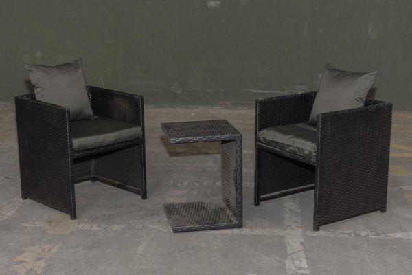 #G Garnitur 39: 2er Set Stuhl Maui mit Beistelltisch Parma-schwarz-anthrazit