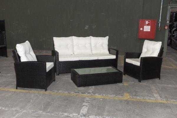 #G Garnitur 42: 3er Sofa Fisolo mit 2er Set Sessel Fisolo und Tisch Provence-schwarz-cremeweiß