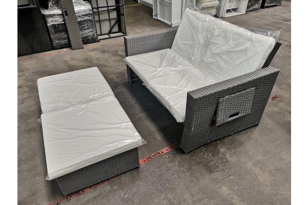 #G 538: Sofa Ancona grau mit Inlay