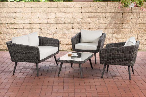 HBM#Lounge-Set Skara Rundrattan grau-meliert cremeweiß