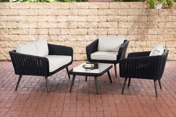HBM# Lounge-Set Skara Rundrattan schwarzcremeweiß