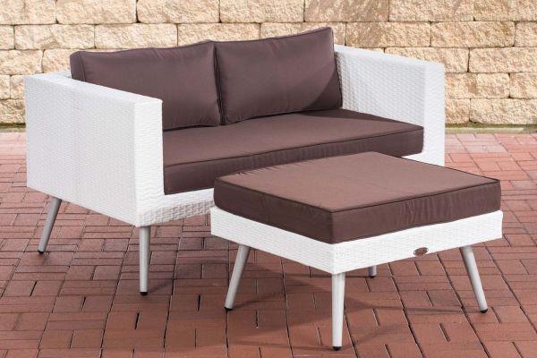 HBM# 2er Sofa Molde mit Fußhocker weiß