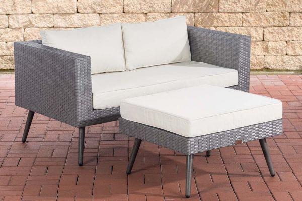 HBM# 2er Sofa Molde mit Fußhocker grau