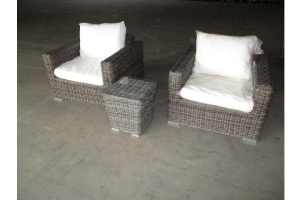 #HBM 1710: 2x Sessel Madeira mit Beistelltisch Mandal 5mm