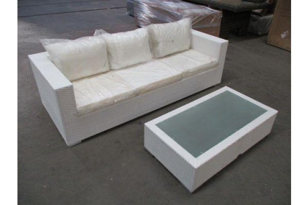 #HBM 1732: 3er Sofa Casablanca + Tisch Provence-weiß