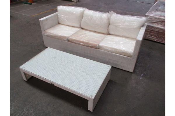#HBM 1735: 3er Sofa Sorano + Tisch Casablanca-weiß