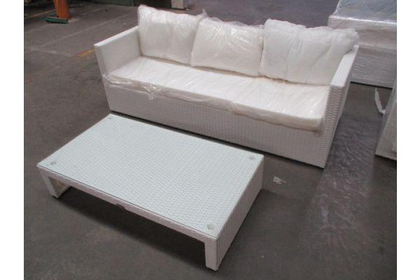 #HBM 1737: 3er Sofa Liberi + Tisch Casablanca-weiß