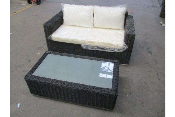 #HBM 1744: 2er Sofa mit Tisch Madeira 5mm-schwarz