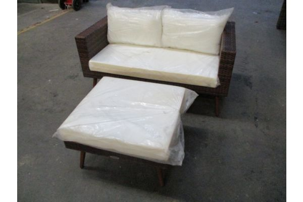 #hbm 1754: Sofa + Fußhocker Molde-braun-meliert