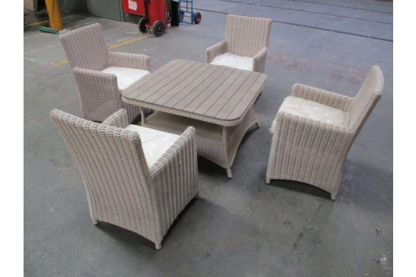 #HBM 1761: 4x Stuhl Fontana + Tisch Pandora WPC 80x80-perlweiß