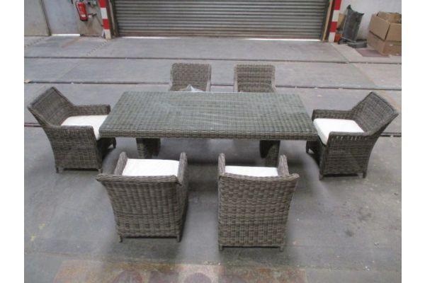 #HBM 1766: 6x Stuhl + Tisch Sandnes 240-grau-meliert-cremeweiß