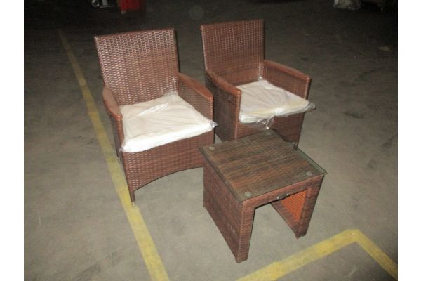 #HBM 1733: 2er Set Sessel Milton mit Beistelltisch Casablanca