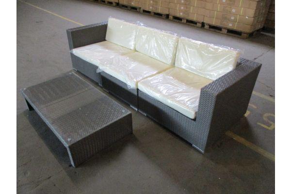 #HBM 1779: 3er Sofa bestehend aus 2 Eck- und 1 Mittelelement 3-1-1 mit Tisch Casablanca