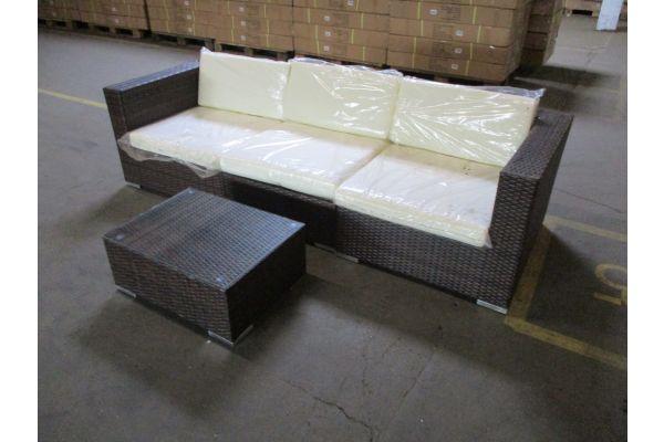 #HBM 1780: 3er Sofa bestehend aus 2 Eck- und 1 Mittelelement mit Tisch 3-1-1