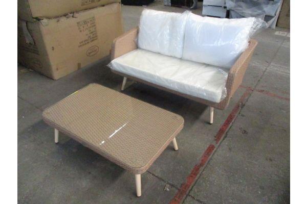 #HBM 1805: 2er Sofa 40 cm mit Tisch Trosa 32 cm-sand
