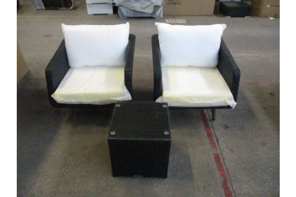 #HBM 1806: 2x Sessel Trosa + Tisch 40x40x40 -schwarz