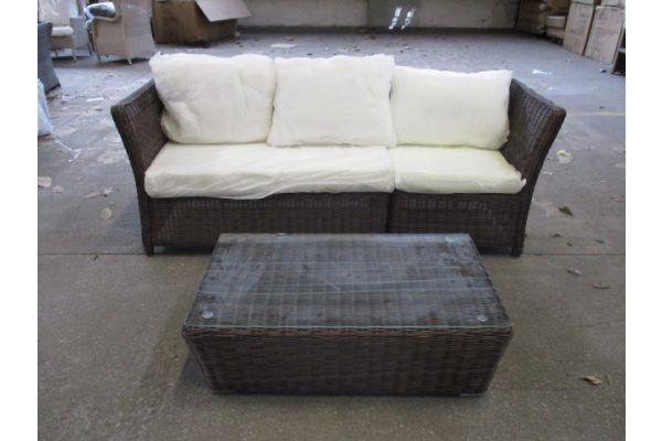 #HBM 1909: 3er Sofa bestehend aus 2 Eck- und 1 Mittelelement Santa Lucia mit Tisch Mandal 5mm