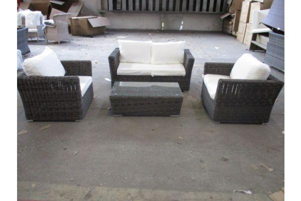 #HBM 1911: Sitzgruppe bestehend aus 2 Sesseln und 2er Sofa mit Tisch Mandal 5mm