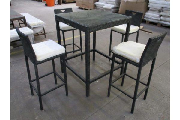 #HBM 1951: Tisch Alia + 4x Stuhl Mari schwarz Flachrattan-schwarz